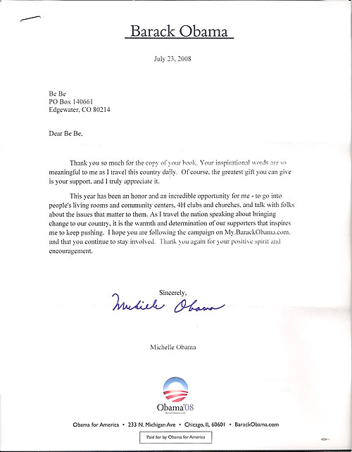 Michelle Obama's Thank You Letter